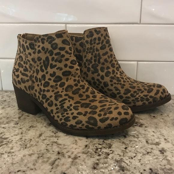 1d443e165044 Billabong Shoes | Downtown Leopard Suede Zip Ankle Boots | Poshmark